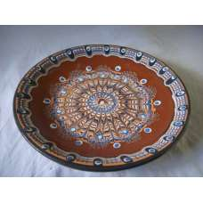 Кафява 22см. Чиния От Традиционна Троянска Керамика