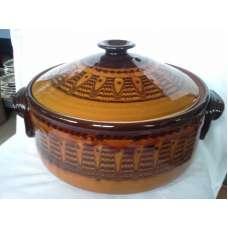Тъмнокафяв 4л. Гювеч-Тава С Традиционна Българаска Шарка Ръчно Изработен От Троянска Керамика