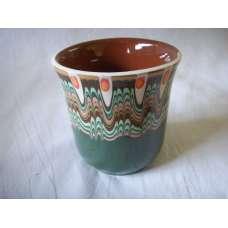 Тъмнозелена 200мл. Чаша Ръчно Изработена От Традиционна Българска Керамика