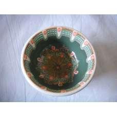 Тъмнозелена 12см. Купа Ръчно Изработена От Традиционна Троянска Керамика