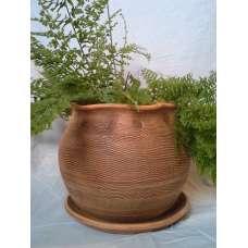 Кафява 15х15см. Саксия Тип Торба Ръчно Изработена От Традиционна Троянска Керамика