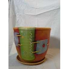 Кафява Саксия 14х14см. Апликация Н1 Ръчно Изработена От Традиционна Троянска Керамика