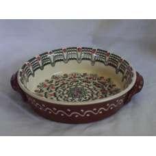 Черно-Бяла 21см. Керамична Тава Ръчно Изработена От Традиционна Българска Керамика