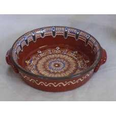 Кафява 21см. Керамична Тава Ръчно Изработена От Традиционна Българска Керамика
