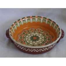 Оранжева 21см. Керамична Тава Ръчно Изработена От Традиционна Българска Керамика