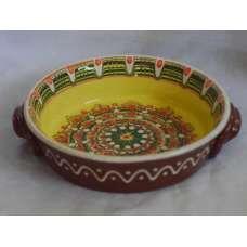 Жълта 21см. Керамична Тава Ръчно Изработена От Традиционна Българска Керамика