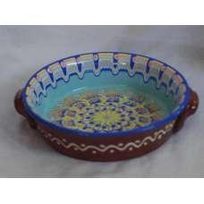 Светлосиня 21см. Керамична Тава Ръчно Изработена От Традиционна Българска Керамика