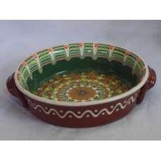 Тъмнозелена 21см. Керамична Тава Ръчно Изработена От Традиционна Българска Керамика