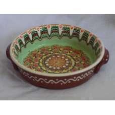 Светлозелена 21см. Керамична Тава Ръчно Изработена От Традиционна Българска Керамика