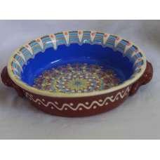 Тъмносиня 21см. Керамична Тава Ръчно Изработена От Традиционна Българска Керамика