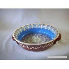 Тъмносиня 25см. Керамична Тава Ръчно Изработена От Традиционна Българска Керамика