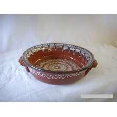 Кафява 25см. Керамична Тава Ръчно Изработена От Традиционна Българска Керамика