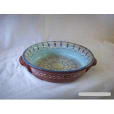 Светлосиня 25см. Керамична Тава Ръчно Изработена От Традиционна Българска Керамика