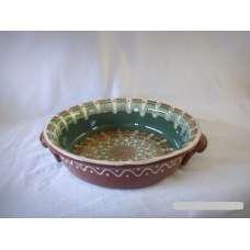 Тъмнозелена 25см. Керамична Тава Ръчно Изработена От Традиционна Българска Керамика