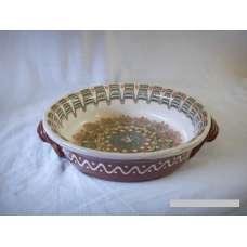Бяла 25см. Керамична Тава Ръчно Изработена От Традиционна Българска Керамика